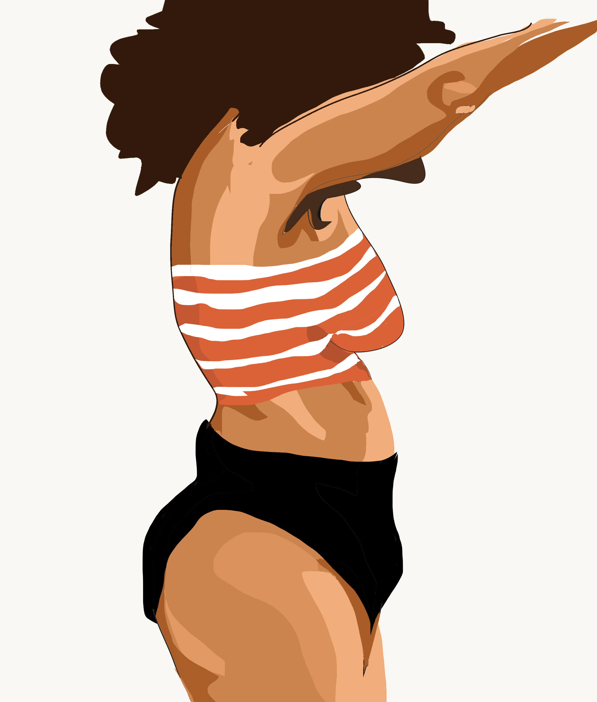 Art work image by Bleu byrdie of a medium brown skinned person with an Afro, wearing an orange and white tube top and black colored briefs. The person is raising their arms above their head, obscuring the face. The image stops at the top of the thighs.
