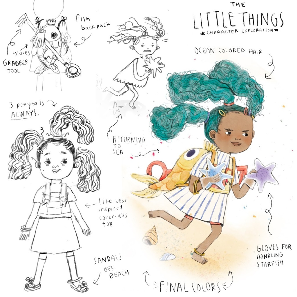 The Little Things character exploration features a child with ocean colored hair, three ponytails, a fish backpack, grabber tool, life vest, sandals and gloves for handling starfish.