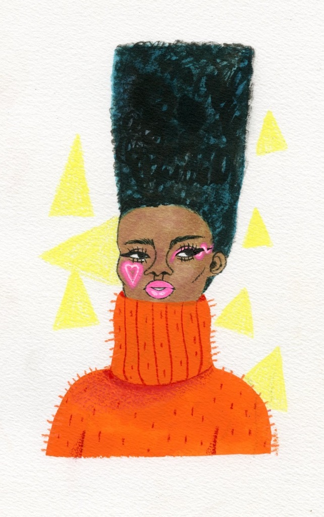 Illustration of a Black person with tall hair, pink face makeup and a chunky orange turtleneck